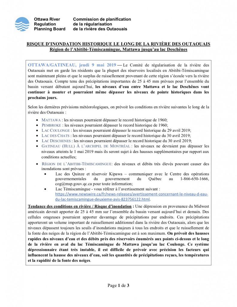 2019 05 09 Communique de presse - Riviere des Outaouais