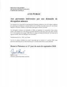 Avis public- demande derogation mineure- 236A, rue Vanier